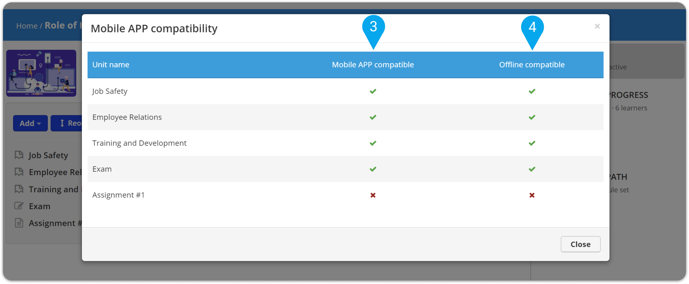 How to check which course units are compatible with the TalentLMS