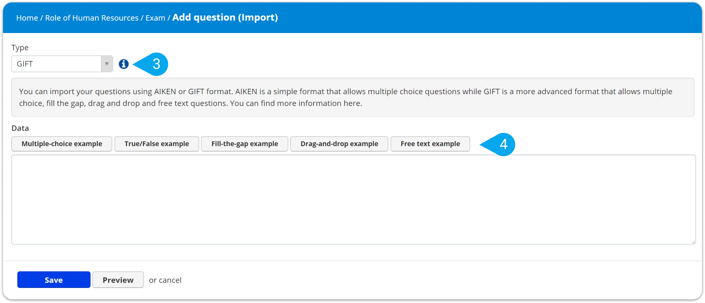 How to import questions in the GIFT/AIKEN formats