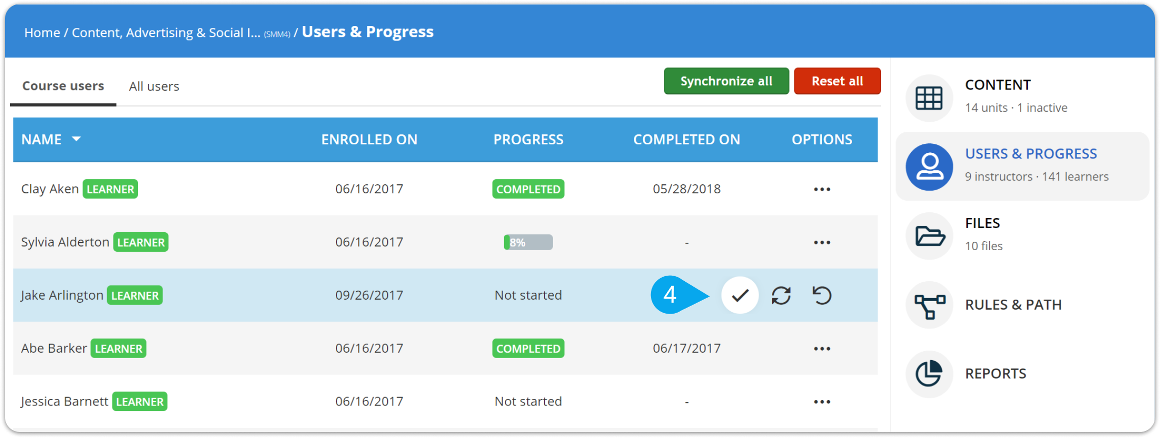 How to change a user's course completion status – TalentLMS